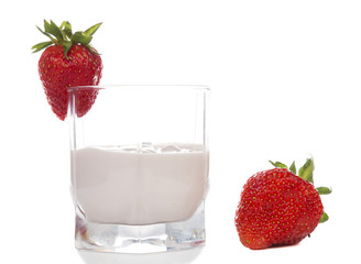 strawberry yogurt in a glass