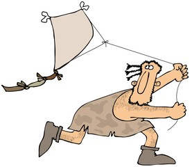 Caveman flying a kite