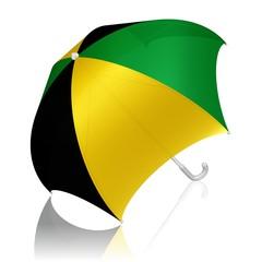 Schirm in den Farben der jamaikanischen Flagge