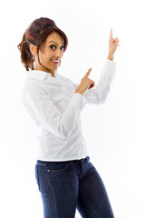 Indian young woman pointing with both hands