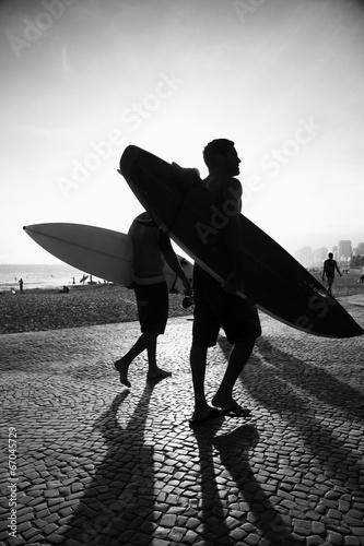 Fototapeta Rio Surfboard Sunset Surfers Arpoador Brazil