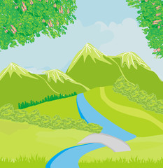 mountain landscape, illustration