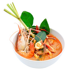Tom Yum Goong or spicy tom yum soup with shrimp. Thai popular fo