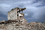 Remains from the demolition of old derelict buildings