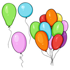 Vector Set of Cartoon Color Balloons