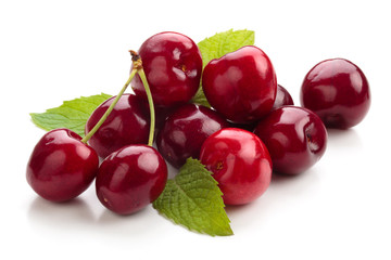 Ripe cherries isolated.