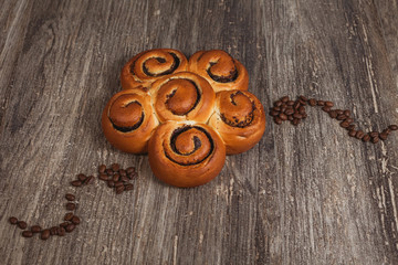 Spiral bun with granules of coffee