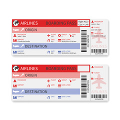 Vector airline boarding pass ticket isolated on white background
