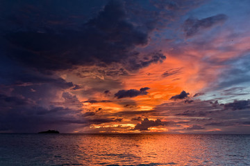 Sunset on wonderful Turquoise Tropical Paradise background