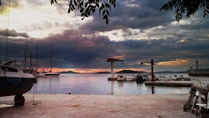Sunset in harbor in Dalmatia, Croatia, island Zlarin time lapse