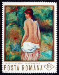 Postage stamp Romania 1971 Nude, by Pierre-Auguste Renoir