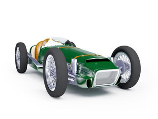 green vintage racing car
