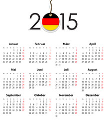 German Solid calendar for 2015 with flag like tag