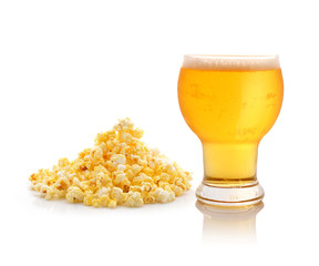 Glass of beer and popcorn  with a white background