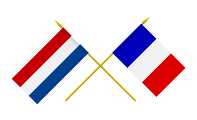 Flags, France and Netherlands