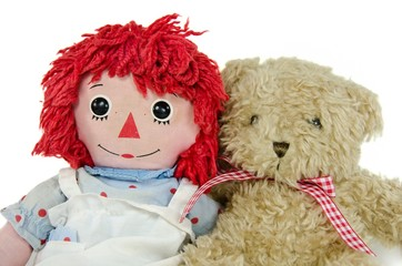 teddy bear with rag doll