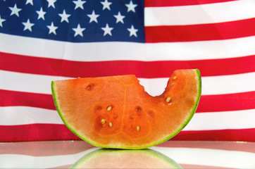 juicy watermelon with American flag