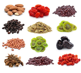 dry food on a white background
