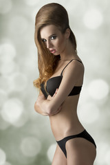 girl in lingerie with hair-style
