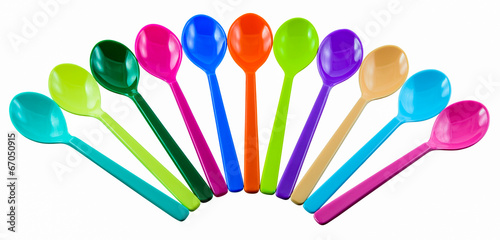colorful plastic spoons