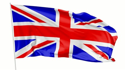 Flag of United Kingdom of Great Britain on flagpole