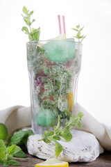 Glass of drink made from mint