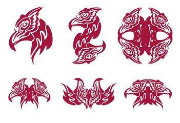 Flaming phoenix head symbols