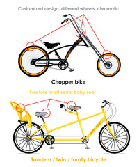 Chopper bike and tandem family bicycle infographics