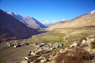 Beautiful scenic view with village and Himalaya mountain, Tibet