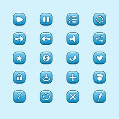 Set of mobile blue vector elements for UI Game Design (set of pl