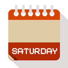 Saturday Vector Paper Calendar Illustration