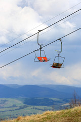 ski lift in spring background