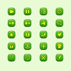 Set of mobile green vector elements for UI Game Design (set of p