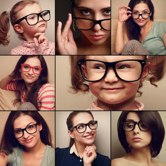 Happy smiling portrait collage collection from people in glasses