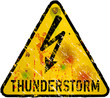 thunderstorm warning sign, heavy weathered, vector eps 10