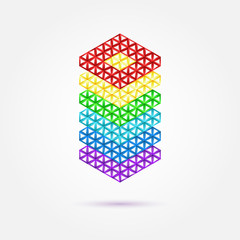Abstract geometric shape - rainbow vector icon
