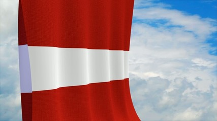 Latvian flag on sky background