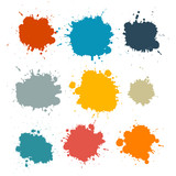 Fototapety Colorful Retro Vector Stains, Blots, Splashes Set