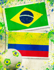 Brazil vs Colombia footballl concept