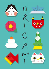 Origami illustrations set