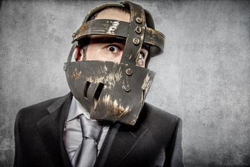 Frustration, aggressive executive suit and tie, Mexican wrestler
