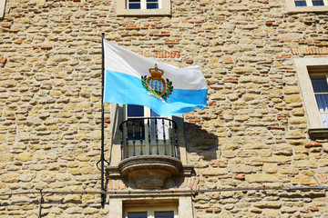 The flag of San Marino on a building