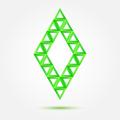 Bright green vector symbol made of triangles - abstract rhombus