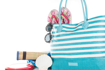 Beach bag with accessories with white background