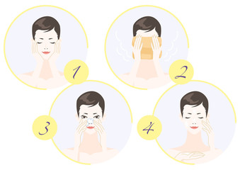 Woman in process of skin care