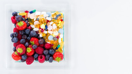 Healthy diet, Fruit and vitamin supplements with copy space