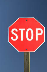 Stop Sign on Blue