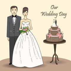 Vector illustration with bride and groom