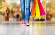 Leinwanddruck Bild - Girl with shopping bags
