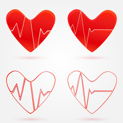 Set of hearts beats graph vector icons